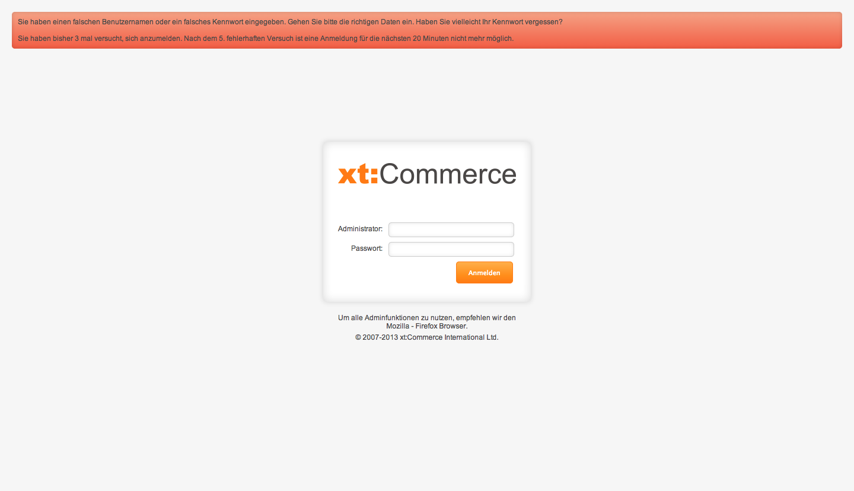 xt:Commerce 4.1 Backend - Login