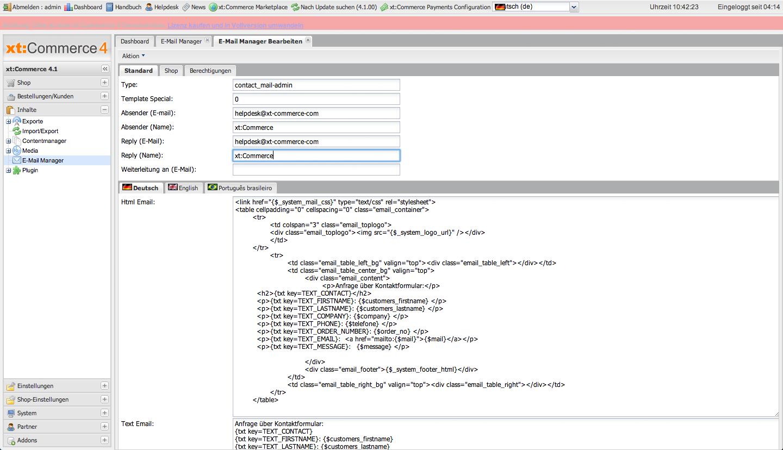xt:Commerce 4.1 Backend - E-Mail-Template für die Kontaktanfrage
