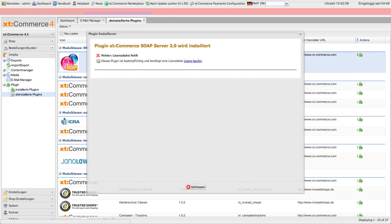 xt:Commerce 4.1 Backend - Lizenzcheck für Plugins