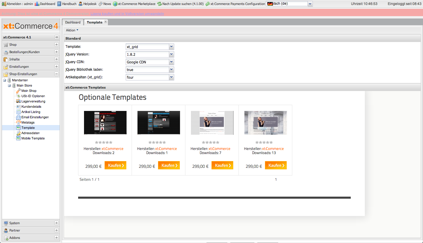 xt:Commerce 4.1 Backend - Template