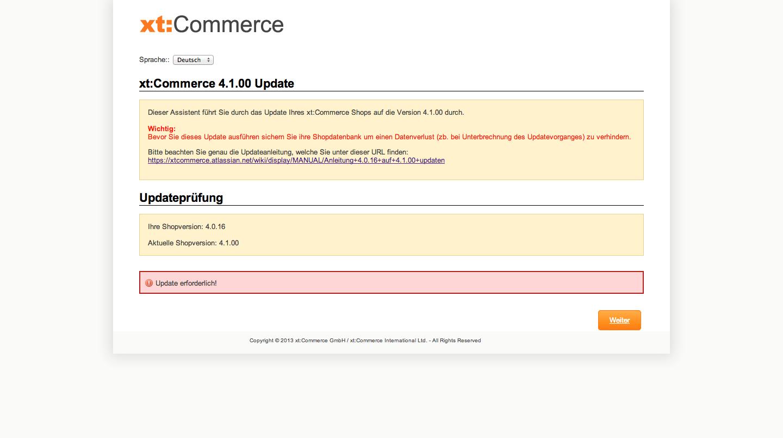 xt:Commerce 4.1 Update - Updateprüfung