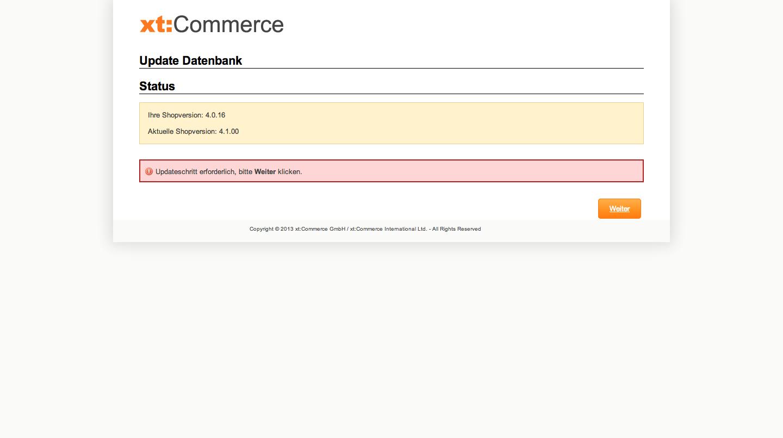 xt:Commerce 4.1 Update - Update der Datenbank