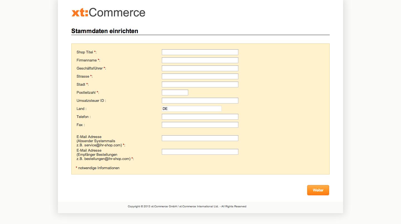xt:Commerce 4.1 Update - Stammdaten einrichten