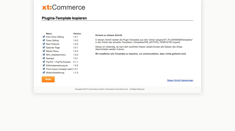xt:Commerce 4.1 Update - Plugin-Templates kopieren
