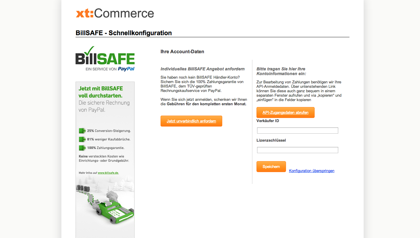 xt:Commerce 4.1 Update - BillSAFE - Schnellkonfiguration