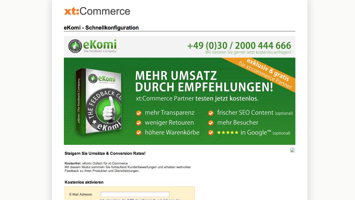 xt:Commerce 4.1 Update - eKomi - Schnellkonfiguration